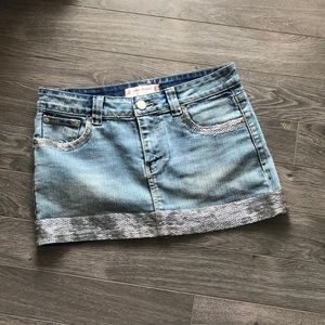 Joe's Jeans Denim Skirt with Beaded Accents
